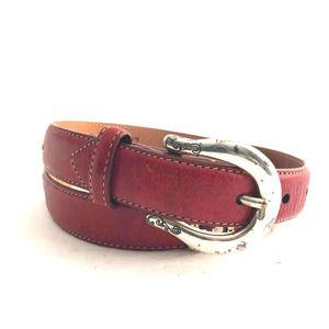 Brighton Burgundy Leather Heart Embellished Belt